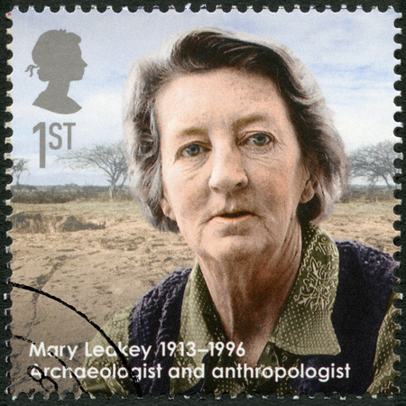 anthropologist: UNITED KINGDOM - CIRCA 2013: A stamp printed in United Kingdom shows Mary Leakey (1913-1996), archaeologist and anthropologist, series Great Britons, circa 2013