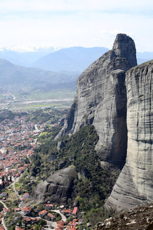 The town of Kalabaka as seen from Meteora, Greece photo