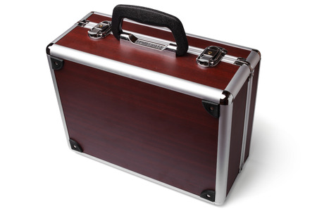 padded: Wooden padded aluminum briefcase on white background