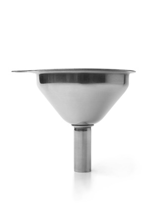 Stainless steel funnel on white background  photo