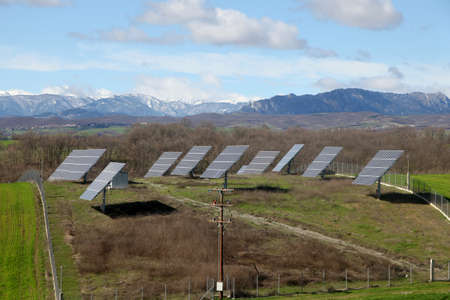 Solar battery panel in the rural landscape, Grevena, Greece photo