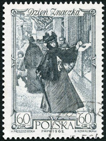 cancellation: POLAND - CIRCA 1962: A stamp printed in Poland shows Woman Mailing Letter Warsaw, circa 1962