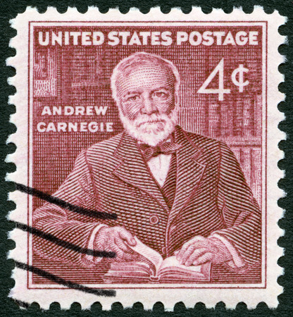 USA - CIRCA 1960: A stamp printed in USA shows Andrew Carnegie (1835-1919), industrialist and philanthropist, circa 1960 Editorial