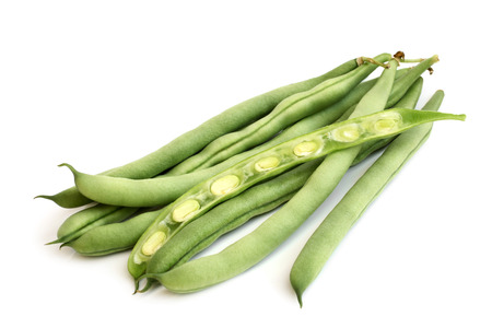 String beans on white background Stock Photo