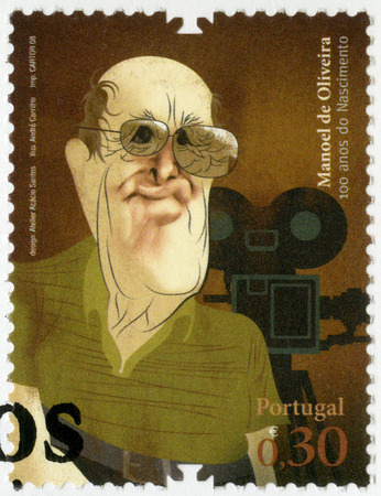 screenwriter: PORTUGAL - CIRCA 2008: A stamp printed in Portugal shows Manoel Candido Pinto de Oliveira, film director and screenwriter, series Figures of Portuguese History and Culture, circa 2008