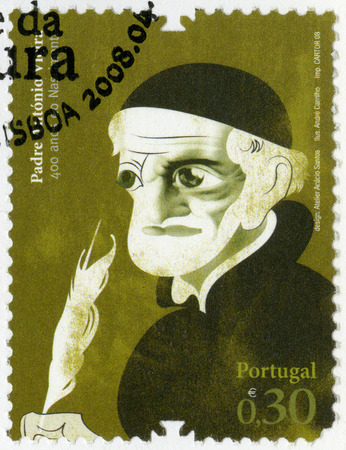 missionary: PORTUGAL - CIRCA 2008: A stamp printed in Portugal shows Father Antonio Vieira (1608- 1697), missionary in Brazil, diplomat, series Figures of Portuguese History and Culture, circa 2008 Editorial