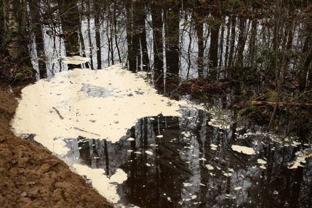 water well: Polluted water with foam, a horizontal picture