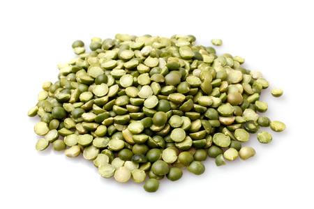groat: Green split peas on white background