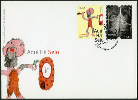 abandonment: PORTUGAL - CIRCA 2010: A stamp printed in Portugal shows Viriato o Lusitano, a figure of Portuguese history who fought against the Romans, and dog, image of abandonment of animals, circa 2010 Editorial