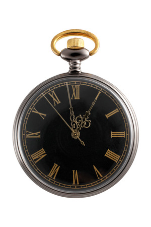 gold watch: Pocket watch isolated on a white background Stock Photo