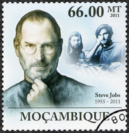 correspondence: MOZAMBIQUE - CIRCA 2011: A stamp printed in Mozambique shows portrait of Steve Jobs (1955-2011), circa 2011