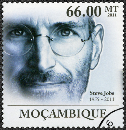 MOZAMBIQUE - CIRCA 2011: A stamp printed in Mozambique shows portrait of Steve Jobs (1955-2011), circa 2011