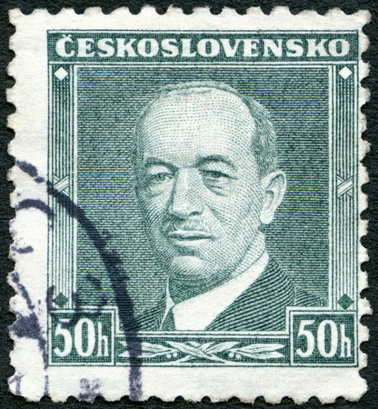 eduard: CZECHOSLOVAKIA - CIRCA 1936: A stamp printed in Czechoslovakia shows President Eduard Benes (1884-1948), circa 1936