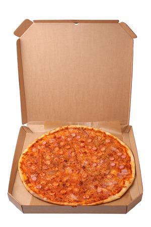 pizza box: Tasty pizza in box isolated on white background Stock Photo
