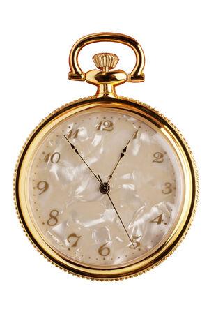 dialplate: Pocket watch isolated on white background Stock Photo