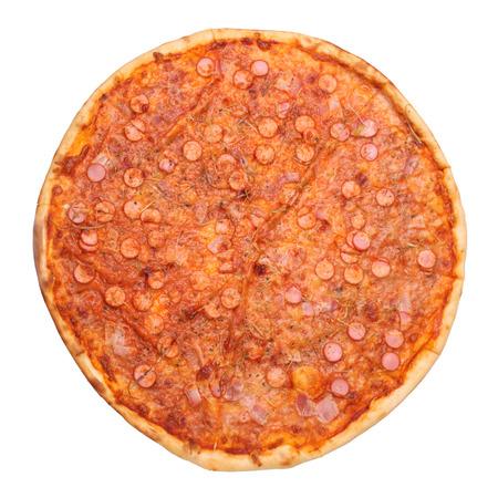 Tasty pizza isolated on white background photo