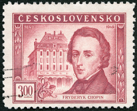 fryderyk chopin: CZECHOSLOVAKIA - CIRCA 1949: A stamp printed in Czechoslovakia shows Frederic Chopin (1810-1849) and Conservatory, Warsaw, Centenary of the death of Frederic F. Chopin, circa 1949