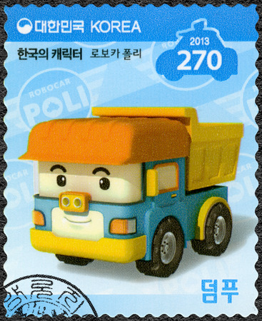 SOUTH KOREA - CIRCA 2013: A stamp printed in South Korea shows Dumpoo, a dump truck which is always sincere, series Brooms Town Rescue Team, circa 2013