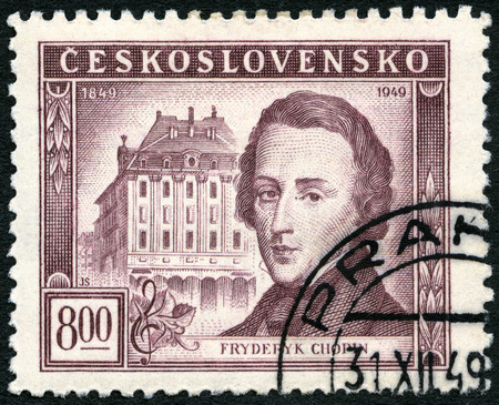 chopin: CZECHOSLOVAKIA - CIRCA 1949: A stamp printed in Czechoslovakia shows Frederic Chopin (1810-1849) and Conservatory, Warsaw, Centenary of the death of Frederic F. Chopin, circa 1949