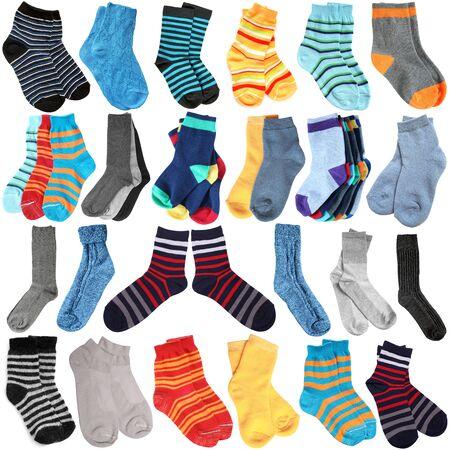 white socks: Selection of various socks on white background Stock Photo