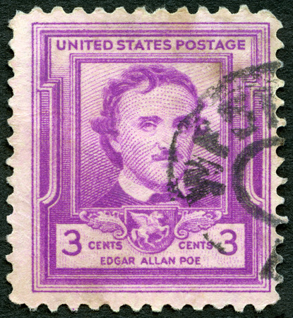 post stamp: USA - CIRCA 1949: A stamp printed in United States of America shows Edgar Allan Poe (1809-1849), writer and poet, circa 1949