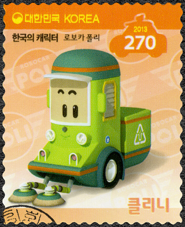 SOUTH KOREA - CIRCA 2013: A stamp printed in South Korea shows Cleani, a cleaning car, series Brooms Town Rescue Team, circa 2013