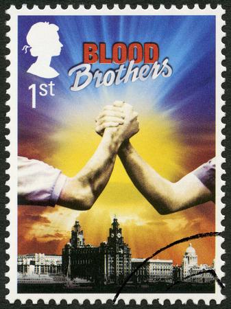 britan: UNITED KINGDOM - CIRCA 2011: A stamp printed in United Kingdom shows Blood Brothers, series Musicals, circa 2011