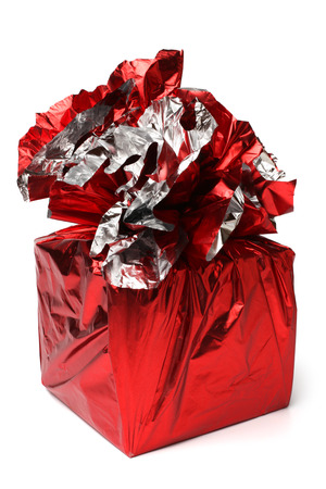 Red gift box on white background photo