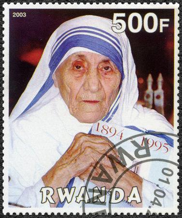 calcutta: RWANDA - CIRCA 2003: A stamp printed in Rwanda shows Mother Teresa of Calcutta, circa 2003