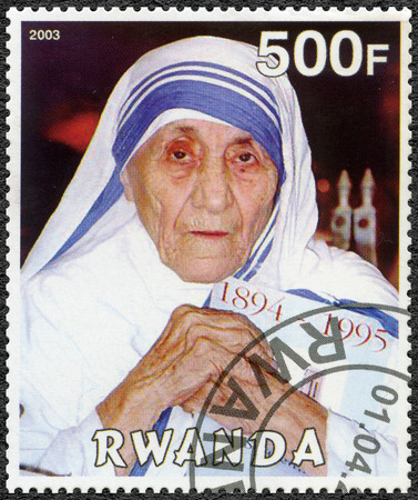 RWANDA - CIRCA 2003: A stamp printed in Rwanda shows Mother Teresa of Calcutta, circa 2003