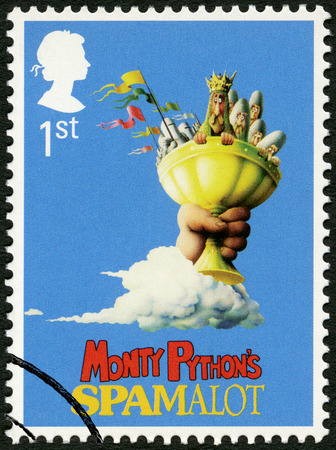 britan: UNITED KINGDOM - CIRCA 2011: A stamp printed in United Kingdom shows Monty Pythons Spamalot, series Musicals, circa 2011 Editorial