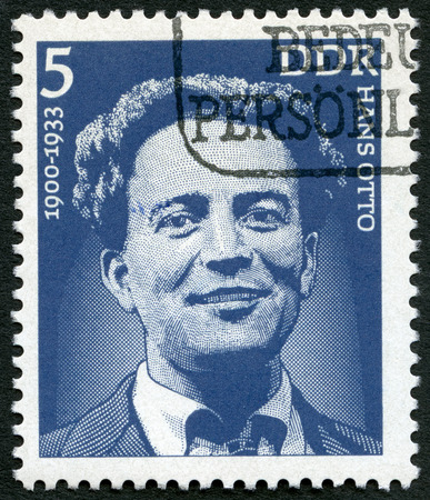 german mark: GERMANY - CIRCA 1975: A stamp printed in Germany shows Hans Otto (1900-33), actor, circa 1975 Editorial