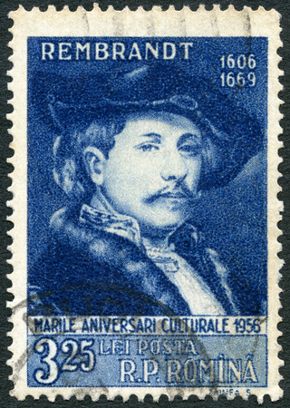 rembrandt: ROMANIA - CIRCA 1956: A stamp printed in Romania shows Rembrandt (1606-1669), Painter, series Great personalities of the world, circa 1956 Editorial