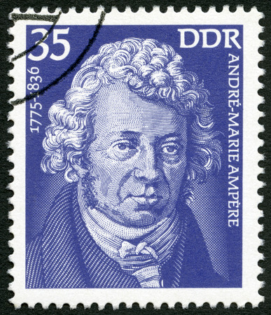 ampere: GERMANY - CIRCA 1975: A stamp printed in Germany shows Andre-Marie Ampere (1775-1836), scientist, circa 1975