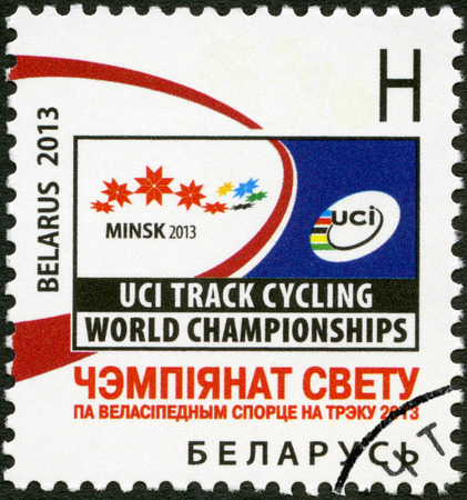 BELARUS - CIRCA 2013: A stamp printed in Belarus dedicated the Track Cycling World Championship 2013, circa 2013