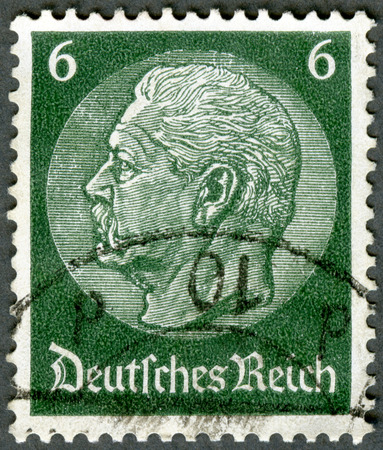 hindenburg: GERMANY - CIRCA 1933: A stamp printed in Germany shows President Paul von Hindenburg (1847-1934), circa 1933