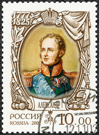 alexander: RUSSIA - CIRCA 2002: A stamp printed in Russia shows Alexander I (1777-1825), dedicated the history of Russia, circa 2002