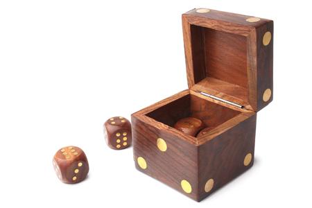 Dice wooden set on white background photo