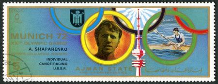 ajman: AJMAN - CIRCA 1972: A stamp printed in Ajman shows Aleksandr Shaparenko, USSR, series Gold medalists of the Olympic Games, Munich, circa 1972