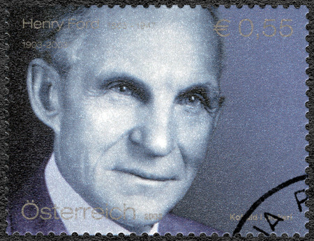 philately: AUSTRIA - CIRCA 2003: A stamp printed in Austria shows portrait of Henry Ford (1863-1947), Ford Motor Company century, circa 2003 Editorial