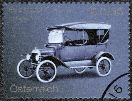henry: AUSTRIA - CIRCA 2003: A stamp printed in Austria shows Ford Model T, Ford Motor Company century, circa 2003