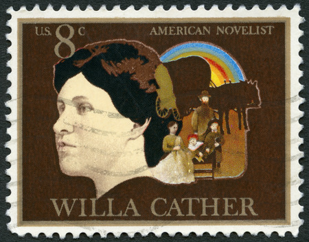 covered wagon: USA - CIRCA 1973: A stamp printed in USA shows Willa Sibert Cather (1873-1947), novelist, Pioneer Family and Covered Wagon, circa 1973 Editorial