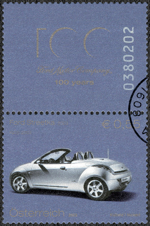 AUSTRIA - CIRCA 2003: A stamp printed in Austria shows Ford Streetka, Ford Motor Company century, circa 2003