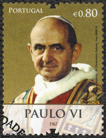 PORTUGAL - CIRCA 2010: A stamp printed in Portugal shows Pope Paul VI (1897-1978), devoted Pope Bento XVI visits Portugal, circa 2010