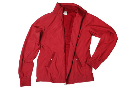 beauty store: Red womans sports jacket isolated on white background Stock Photo