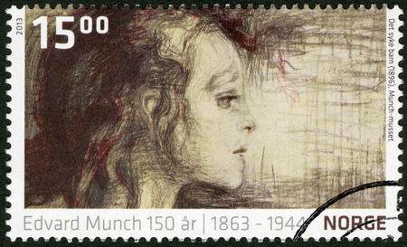 munch: NORWEY - CIRCA 2013: A stamp printed in Norway shows  Detail from The Sick Child by Edvard Munch  (1896, The Munch Museum), circa 2013