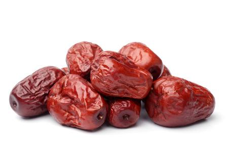 Getrocknete Jujube Früchte auf weißem Hintergrund Lizenzfreie Bilder