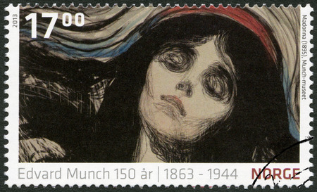 munch: NORWEY - CIRCA 2013: A stamp printed in Norway shows Detail from Madonna by Edvard Munch (1895, The Munch Museum), circa 2013