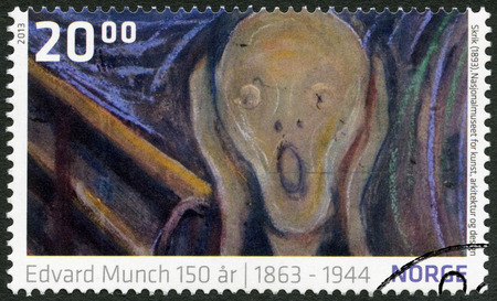 munch: NORWEY - CIRCA 2013: A stamp printed in Norway shows Detail from The Scream by Edvard Munch (1893, The National Museum), circa 2013