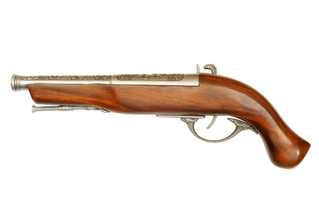 flintlock: Flintlock pistol isolated on white background Stock Photo